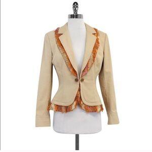 St. John Beige Blazer Jacket w Orange Paisley Trim